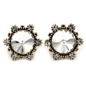 Fashion sunflower white crystal golden earrings